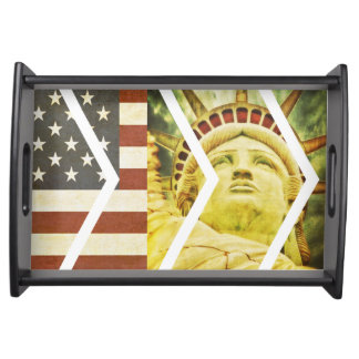 Vintage USA Flag Statue of Liberty Chevrons Serving Tray