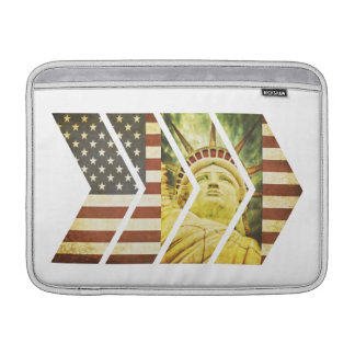 Vintage USA Flag Statue of Liberty Chevrons Sleeve For MacBook Air