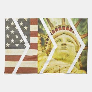 Vintage USA Flag Statue of Liberty Chevrons Tea Towels