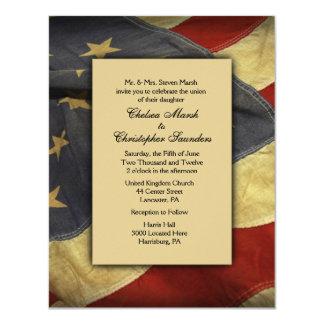 Vintage USA Flag Wedding Invitation