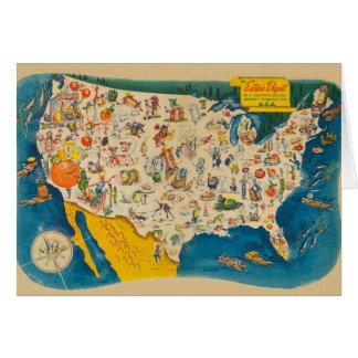Vintage USA Food Map Card