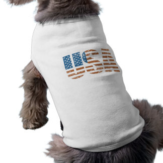 Vintage USA Letters with The American Flag Sleeveless Dog Shirt