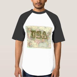 Vintage USA Map Men's Raglan Baseball T-Shirt