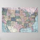 Vintage USA Map Print