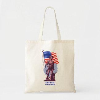 Vintage USA Minutemen America on Guard Patriotism Budget Tote Bag