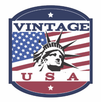 Vintage USA Retro Badge Standing Photo Sculpture