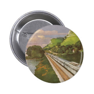 Vintage Vacation by Train Locomotive in Country Pin