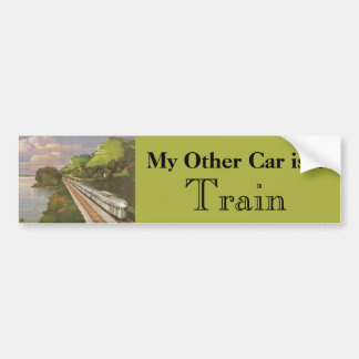 Vintage Vacation by Train, Locomotive in Country Bumper Sticker