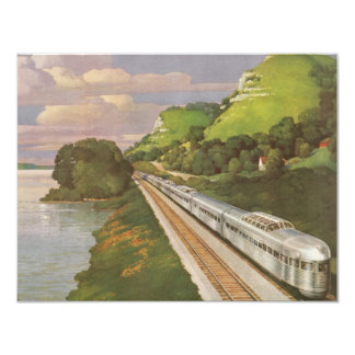 Vintage Vacation by Train, Locomotive in Country 11 Cm X 14 Cm Invitation Card