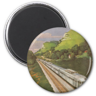 Vintage Vacation by Train, Locomotive in Country Refrigerator Magnet