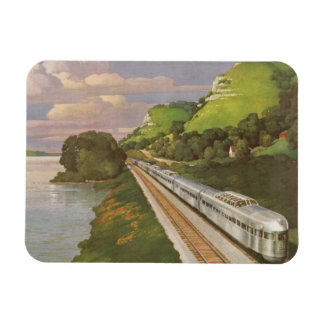 Vintage Vacation by Train, Locomotive in Country Rectangular Magnet