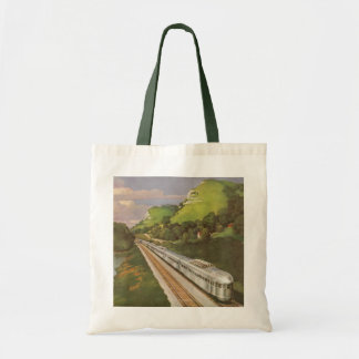 Vintage Vacation by Train, Locomotive in Country Tote Bags