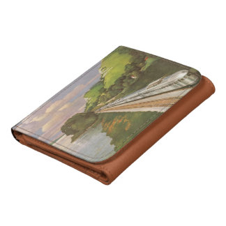 Vintage Vacation by Train, Locomotive in Country Leather Wallets