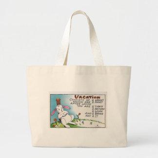 Vintage Vacation Humor Rabbit Large Tote Bag