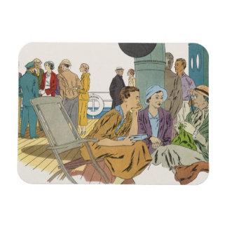 Vintage Vacation, Passengers Cruise Ship on Deck Rectangular Photo Magnet
