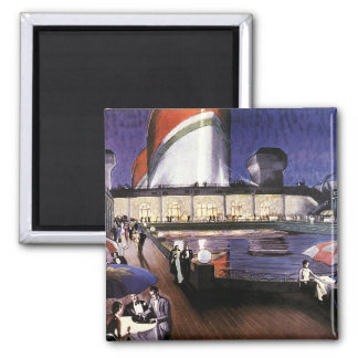 Vintage Vacation, Travel by Cruise Ship at Sea Square Magnet