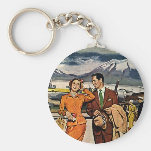 Vintage Vacations, Tourists on the Tarmac Key Chain