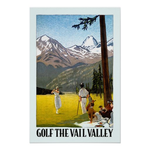 Vintage Vail Valley Golfing Travel Print