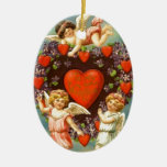 Vintage Valentine 3 Cupids And Red Hearts Ceramic Oval Decoration