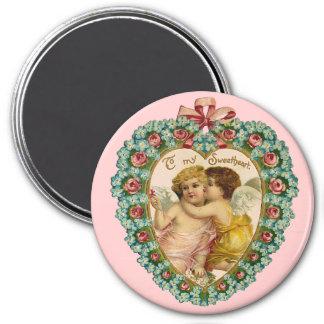 Vintage Valentine Affectionate Cherubs Magnet