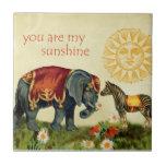 Vintage Valentine Animals in Love Collage Tile