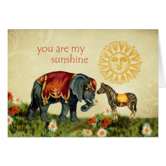 Vintage Valentine Animals in Love Greeting Card