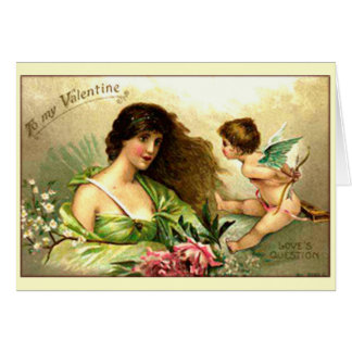 Vintage Valentine Aphrodite And Cupid Card