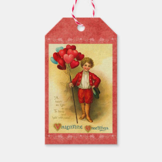 Vintage Valentine Balloon Greetings Hanging Cards Gift Tags
