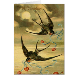 Vintage Valentine Barn Swallows, Birthday Card