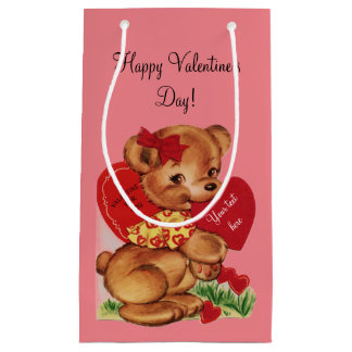 Vintage Valentine Bear Small Gift Bag