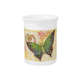 Vintage Valentine Butterfly Beverage Pitcher