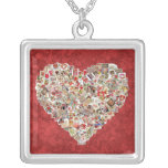Vintage Valentine Card Heart Collage on Red Pendants