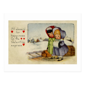 Vintage Valentine Card Two Girls waiting for train Postcard