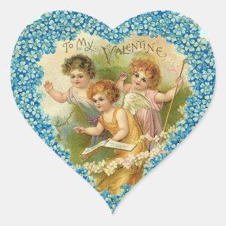 Vintage Valentine Cherub Heart Stickers