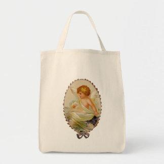 Vintage Valentine Cherub Grocery Tote Bag