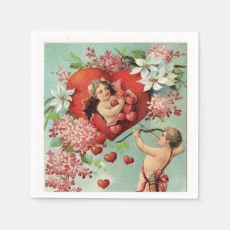 Vintage Valentine Cherubs and Hearts Disposable Serviette