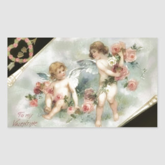 Vintage Valentine Cherubs Rectangular Sticker