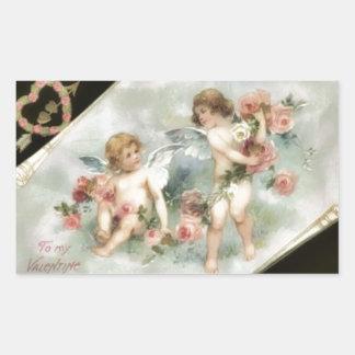 Vintage Valentine Cherubs Rectangular Sticker