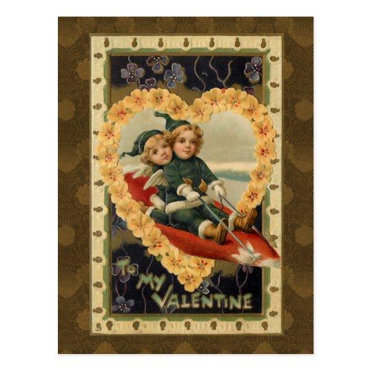 Vintage Valentine Children Postcard
