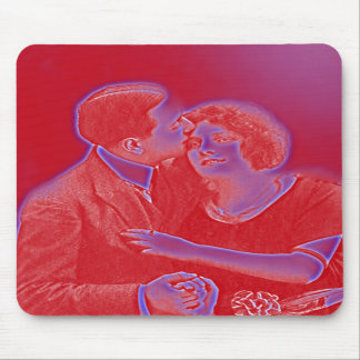 Vintage Valentine Couple in Red Mouse Pads
