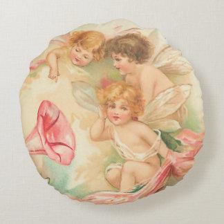 Vintage valentine cupid angel 1 round cushion