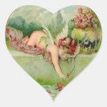 Vintage Valentine Cupid Heart Stickers