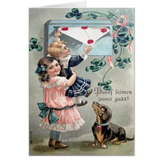 Vintage Valentine Dachshund Card