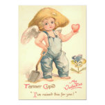 Vintage Valentine Farmer Cupid Flat Card 13 Cm X 18 Cm Invitation Card