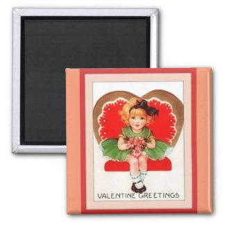 Vintage Valentine Greetings Square Magnet