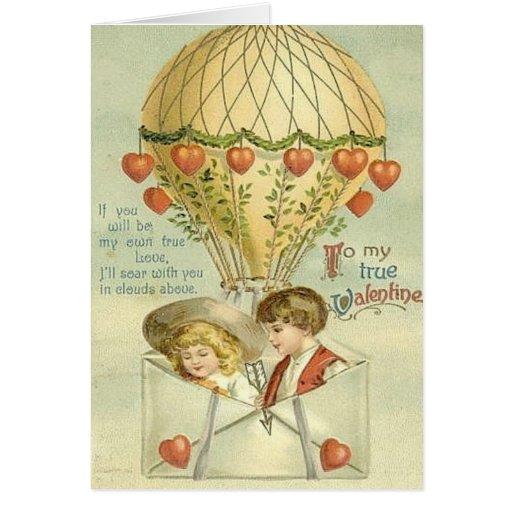Vintage Valentine Hot Air Balloon Greeting Card