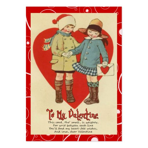 Vintage Valentine Kid Cards Business Card Template