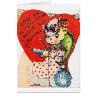 Vintage Valentine Knitting Bear Greeting Card