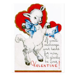 Vintage Valentine Lamb Postcard