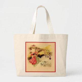 Vintage Valentine Message Pink Parasol Tote Bag